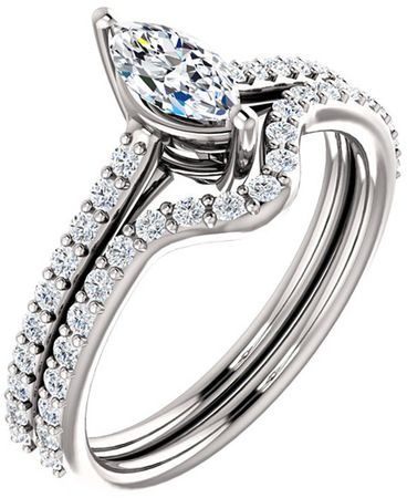 Accented Solitaire Engagement Ring for Marquise Shape Centergem Sized 6.00 x 3.50 mm to 12.00 x 6.00 mm - Customize Metal, Accents or Gem Type