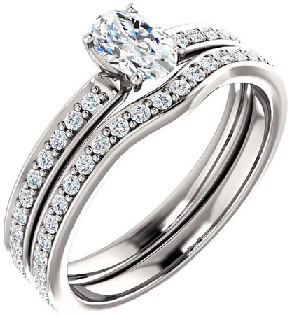 Accented Oval Engagement Ring Mounting for Shape Centergems Sized 6.00 x 4.00 mm to 9.00 x 7.00 mm Customize Metal, Accents or Gem Type