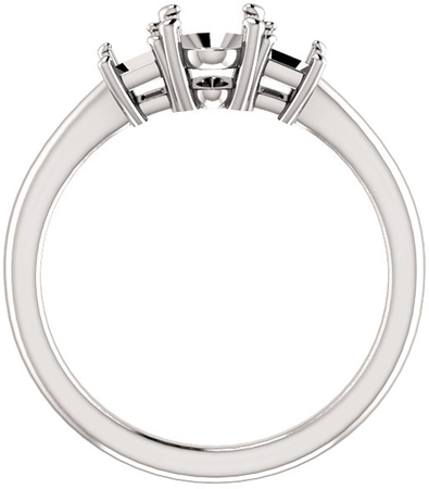 Classic 3-Stone Ring With Emerald Cut Side Gems - For Oval Center Gem Sized 6.00 x 4.00mm to 10.00 x 8.00 mm - Customize Metal, Accents or Gem Type