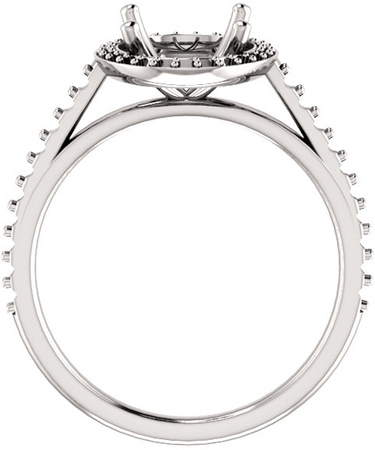 Oval Halo Style Engagement Ring Mounting for 6.00 x 4.00 mm - 12.00 x 10.00 mm Center - Customize Metal, Accents or Gem Type