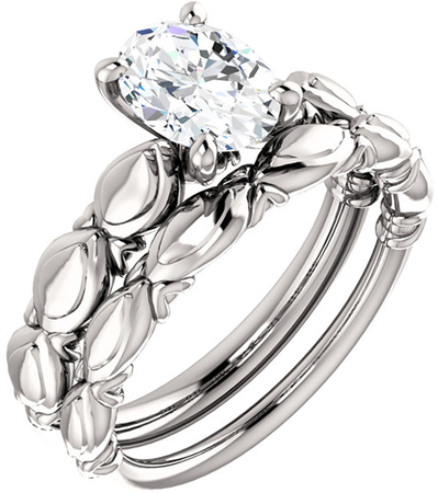 Sculptural Solitaire Engagement Ring Mounting For Oval Shape Centergem Sized 6.00 x 4.00 mm to 12.00 x 10.00 mm - Customize Metal, Accents or Gem Type