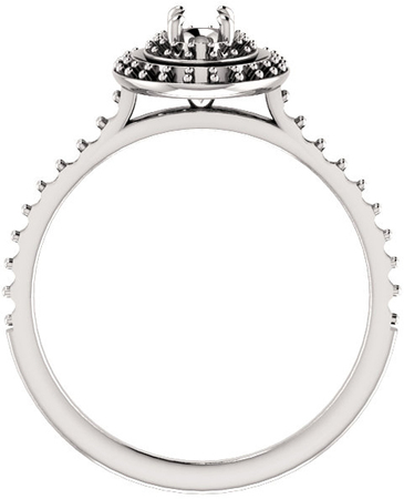 Oval Double Halo Accented Engagement Ring Mounting for Shape Centergems Sized 5.00 x 3.00 mm to 10.00 x 8.00 mm - Customize Metal, Accents or Gem Type