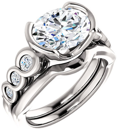 Chic Accented Engagement Ring Mounting For Oval Shape Centergem Sized 6.00 x 4.00 mm to 10.00 x 8.00 mm - Customize Metal, Accents or Gem Type