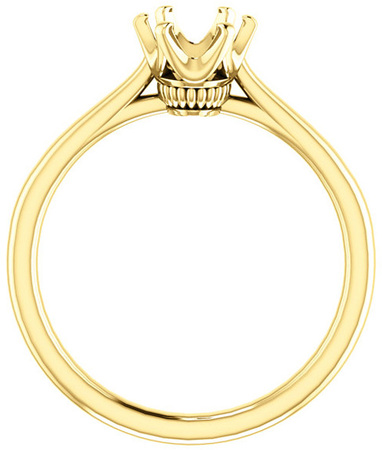 Oval 6-Prong Classic Solitaire Engagement Ring Mounting for 6.00 x 4.00 mm - 12.00 x 10.00 mm Center - Customize Metal, Accents or Gem Type