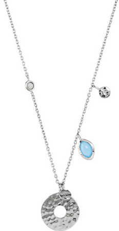 Alluring Station Charm Pendant With Blue Chalcedony & Labradorite Charms - Metal Type Options