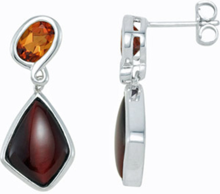 Beautiful 19.6ct Madeira Citrine and Cabochon Red Tigerseye Come Together in These Fashion Earrings - SOLD