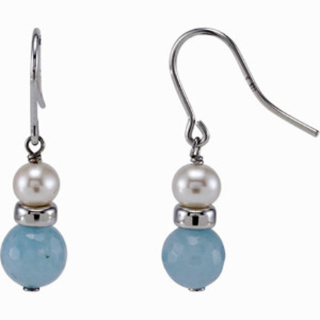 Unique 27ct Wire Back Pearl and Milky Aquamarine 5-8mm Bead Earrings for SALE - SOLD