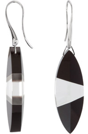 Striking 55.88ct Puzzle Style Marquise Shaped 38x13mm Clear Quartz and Onyx Earrings in Sterling Silver