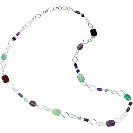 Funky 238.56CT Purple and Green Fluorite and Rose De France Sterling Silver 42