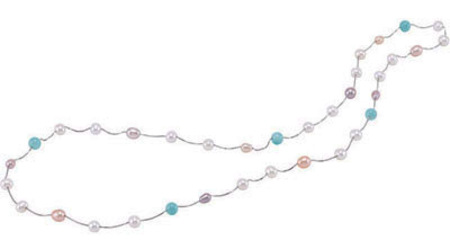 Pastel Colored Station Necklace with Pearls and Multicolored Gems - SOLD