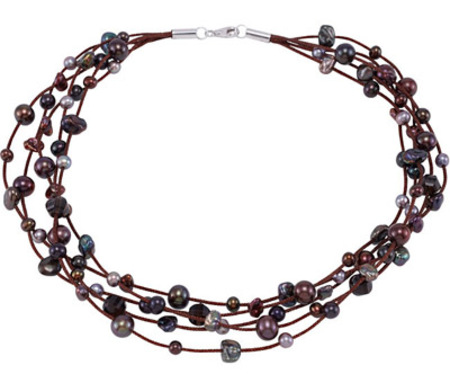 Multi-tiered Smokey Quartz and Multi-Color Pearl Fashion Necklace - SOLD