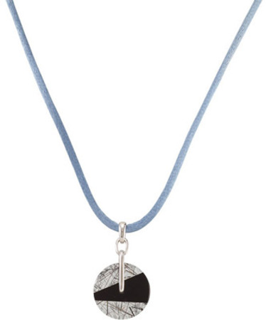 Abstract 20.8ct Geometric Designed 20mm Round Black Onyx and Tourmalinated Quartz Pendant - FREE Colored Silky Cord - SOLD