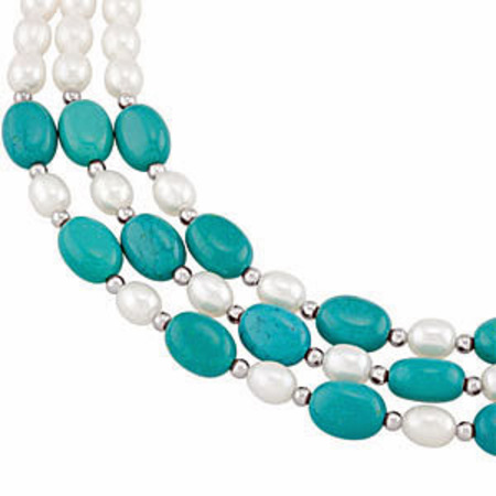 Irresistible Three Tiered Fashion Pearl and Turquoise 18