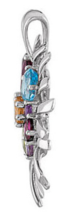Beautiful 4.21ct Gemstone Colorburst Pendant in Sterling Silver With Amethyst, Aquamarine, Garnet, Citrine, Peridot & Topaz Gems - FREE Chain With Pendant - SOLD