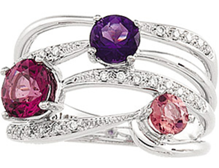 Festive 1.99ct Cocktail Ring for SALE - Pave Diamond Multi-band with Amethyst, Garnet and Tourmaline