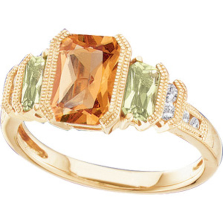 Distinguished 2.18ct Natural Radiant cut Citrine and Peridot Multicolor Gemstone & Diamond Ring in 14kt Yellow Gold
