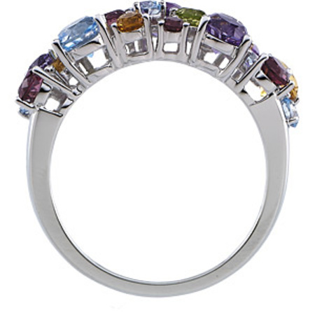 Exquisite Multicolor Genuine Gemstone Gold Cocktail Ring - Triple Band of Round Stones - SOLD