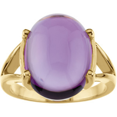 Stylish Huge 11ct 16x12mm GEM Oval Cabochon Amethyst set in 14 karat Yellow Gold Ring for SALE