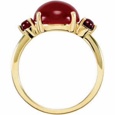 Bright Red 10mm Cabochon Carnelian and 3mm Mozambique Garnet Ring in 14 karat Yellow Gold for SALE
