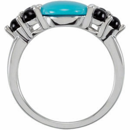 Eye Catching 3mm Onyx and 12x10mm Turquoise Cabochon Ring in Sterling Silver for SALE