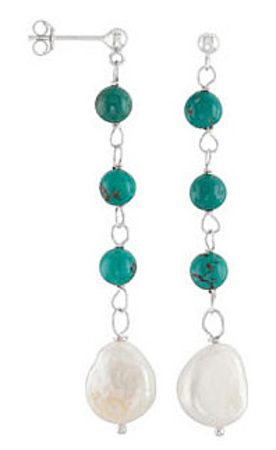 Urban Chic Turquoise & Pearl Dangle Earrings in Sterling Silver for SALE - Post Back Closure - SOLD
