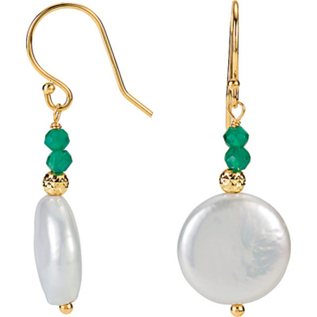 Stylish Cultured 13-14mm Coin Pearl Dangle Earrings With Green Onyx Beads - 14k Yellow Gold Wire Back Earrings - SOLD