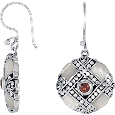 Unique Sterling Silver Wire Back Dangle Earrings With 3.50 mm Garnet Center and Mother of Pearl - SOLD