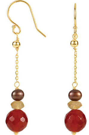 Tribal Chic Colorful Drop Style 14k Yellow Gold Dangle Earrings With Multicolored Gem Beads - Carnelian, Citrine & Chocolate Pearl - SOLD