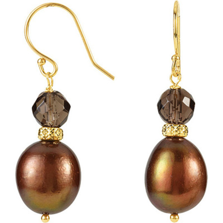 Rich Brown Colored Beaded 14k Yellow Gold Dangle Wire Back Earrings for SALE - 6mm Smokey Quartz & 10.5-11.5mm Dyed Pearls