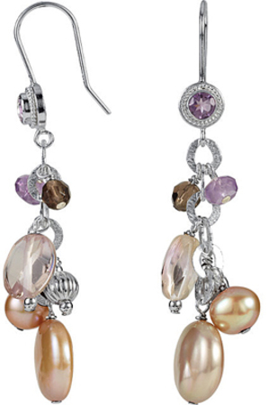 Attractive 4.12ct Sterling Silver Dangle Earrings With Multicolored Gemstones - Amethyst, Ametrine, Smokey Quartz & Pearl