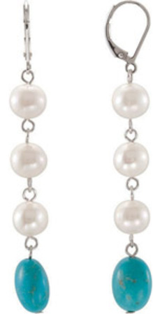 Fun 47.08ct Dangling Pearl and 12x9mm Turquoise Bead Earrings with a Lever Back in Sterling Silver - SOLD
