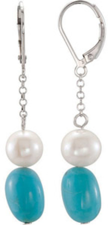 Lever-Back 17.08ct Dangling 12x9mm Turquoise and Pearl Bead Earrings in Sterling Silver for SALE - SOLD