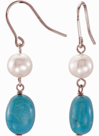 Bohemian Chic  17.08ct Turquoise and Pearl Bead Dangle Earrings in Sterling Silver for SALE - SOLD