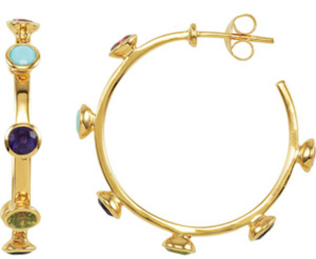Stunning Yellow Gold Coated Hoop Earrings with Garnet, Turquoise, Amethyst and Peridot