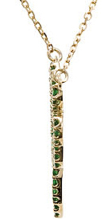 Rich 1.25mm .58ct Tsavorite Garnet Clover Necklace expertly set in 14 karat Yellow Gold for SALE
