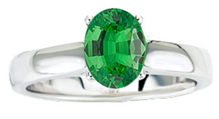 Wow Factor!  Solitaire 1.1ct Large 8x6mm Oval Cut Genuine Tsavorite Garnet GEM Grade in Heavy Gold Ring for SALE