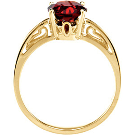 Gorgeous 1.1ct 7mm Large Orangish Red Garnet Ring set in Intricate 14 karat Yellow Gold