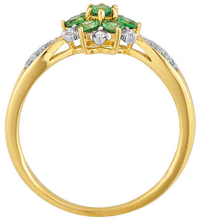 Delightful 7 Stone .51ct Tsavorite Garnet Flower Style Ring With Incredible Diamond Accents in a 14k Yellow Gold Band for SALE