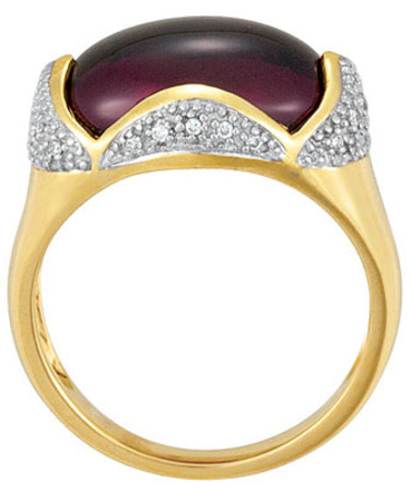 Eye Catching Cabochon Oval Cut Magenta Colored Brazilian Garnet Ring - 14k Yellow Gold With 28 Diamond Accents - SOLD