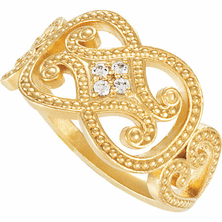 14 KT Yellow Gold .06 Carat Total Weight Diamond Granulated Ring