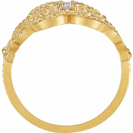 14 KT Yellow Gold Granulated Design Ring Size 7