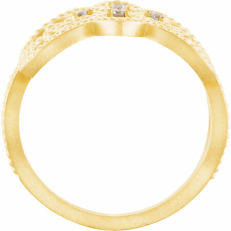 14 KT Yellow Gold 1/8 Carat Total Weight Diamond Granulated Design Ring Size 7