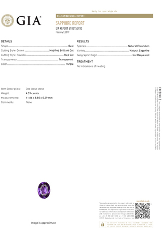 No Heat Vivid Rich Purple Sapphire Gem in Oval Cut, GIA, Stunning Stone in 11.86 x 8.85 x 5.29 mm, 4.59 carats - SOLD