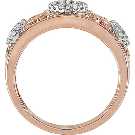 17ct Rose Gold Plated Band Ring With Open Heart Diamond Studded