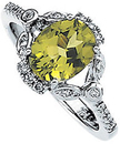 14KT White Gold 1/6 Carat Total Weight Diamond & 9x7mm Peridot Ring