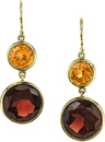Gorgeous Wire Back Dangle Earrings With Bezel Set Round Spessartite Garnets (2.76ct) & Red Garnets (11.74ct)- 18kt Yellow Gold