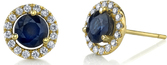 Classic Style 1.70ctw Round Blue Sapphire Halo Stud Earrings in 18kt Yellow Gold