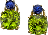 Great Colors in 18kt Yellow Gold Multi-Gem Lever Back Earrings  - Cushion Cut Peridot (13.73ctw) & Round Blue Sapphire (1.50ctw)