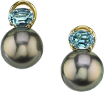 Fantastic 18kt Yellow Gold Leverback Earrings With Tahitian Pearls & Oval Aquamarines