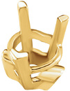 Attractive 14kt Gold 3-Prong V-End Setting with Solder Pads for Heart Gemstone Sized 5.00 mm to 7.00 mm